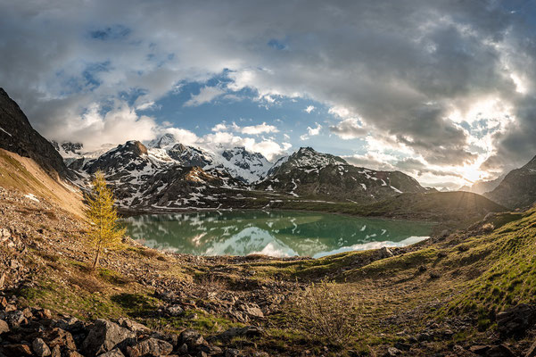 Glacial lake in the mountains of Switzerland.