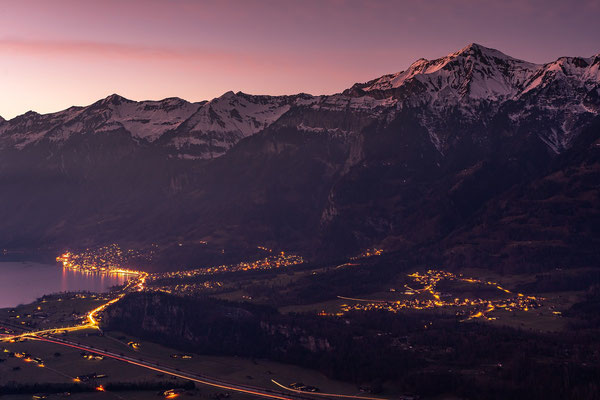 The lights of the cozy village of Brienz just after sunset.