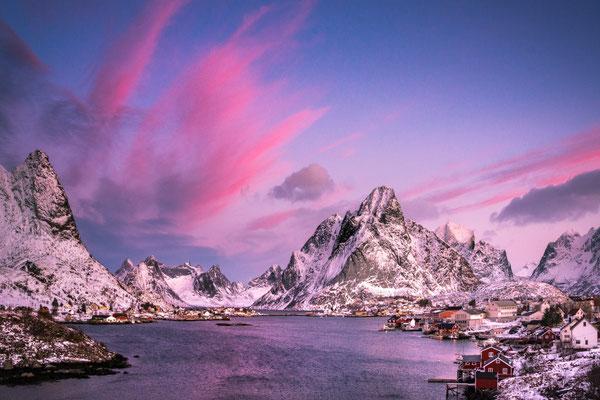 Village Reine in Norway during sunrise.