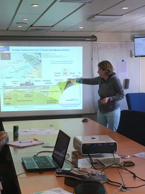 "First seminar on board, Michela presents ""3D velocity model in the Gulf of Trieste"""
