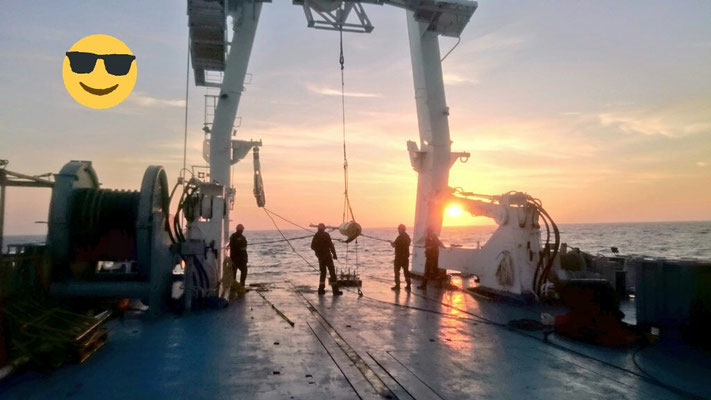 Sunset on board the R/V Atalante (that's also why we love our job)