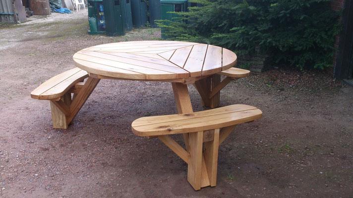 massief eiken picknicktafel rond 140cm ontwerp madebycor