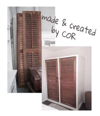 kledingkast van oude louvredeuren gemaakt in huisje 33 Ermelo