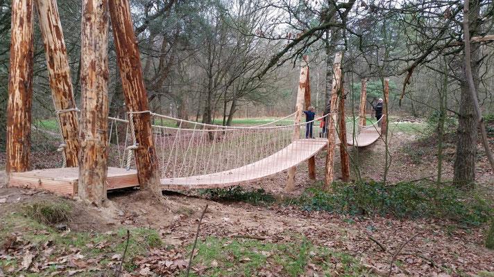 hangbrug met touwen in bos