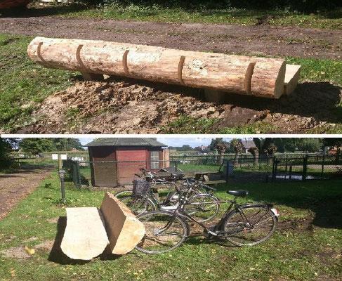 fietsenbank zitten en fiets stallen in een