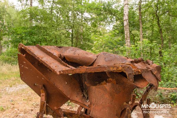 Oude wagen grindwinning