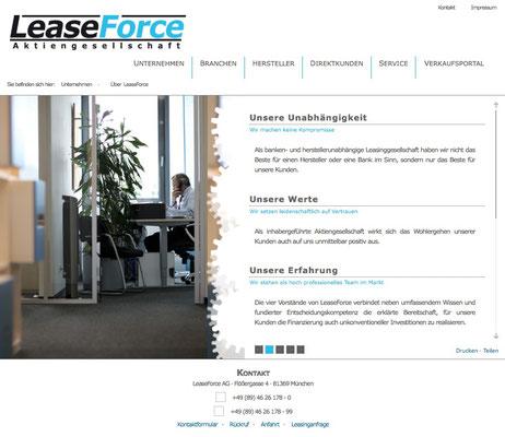 Konzept und Wording der Website der LEASEFORCE AG