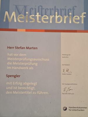 Meisterbrief Spengler