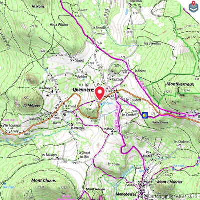 Carte des environs de Queyrières dans le Meygal, haute-loire