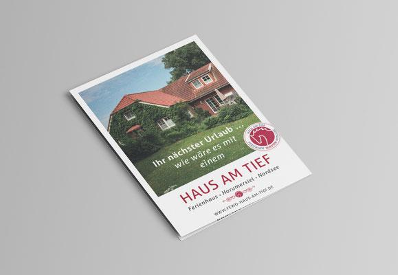Kunde: Ferienhof Janssen Horumersiel | Skills: Idee, Konzept, Grafik und Umsetzung Flyer A5 Ferienhaus.