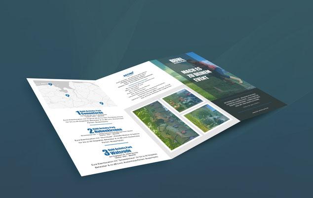 Kunde: Buhl Activity Parks GmbH | Skills: Idee, Konzept, Grafik, Illustration, Gestaltung, Umsetzung Trifold-Flyer.
