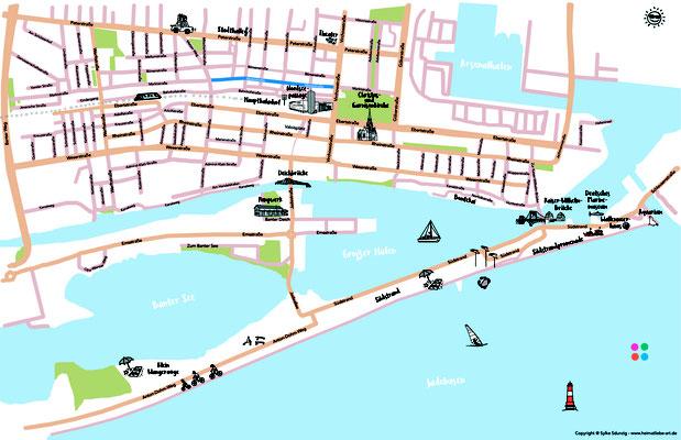 Illustration Map Wilhelmshaven für die Wilhelmshaven Touristik & Freizeit GmbH
