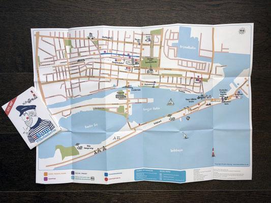 Kunde: Wilhelmshaven Touristik & Freizeit GmbH | Skills: Illustration, Grafik, Layout und Umsetzung Stadtplan - Vorderseite.