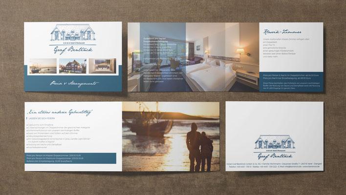 Kunde: Hotel Graf Bentinck Dangast | Skills: Idee, Konzept, Grafik, Layout und Umsetzung diverser Broschüren, Flyer und Geschäftsunterlagen.