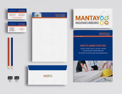 Kunde: Ingenieurbüro Mantay | Skills: Idee, Grafik, Logo-Gestaltung, Layout und Umsetzung Coporate Identity Set.