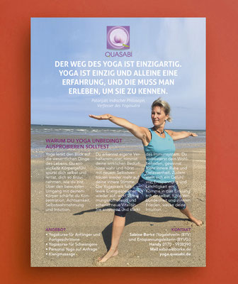 Kunde: Yogalehrerin Sabine Borke | Skills: Idee, Konzept, Grafik, Gestaltung und Umsetzung Flyer A5.