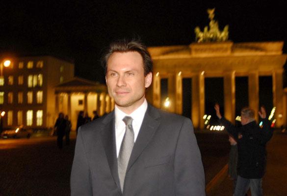 Christian Slater at the Brandenburg Gate