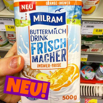 Milram Buttermilch Drink Frischmacher Ingwer-Brise Orange Ingwer