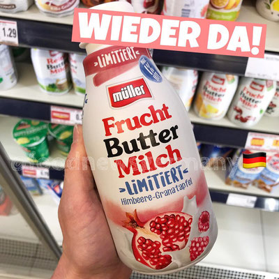 Müller Fruchtbuttermilch Himbeere-Granatapfel