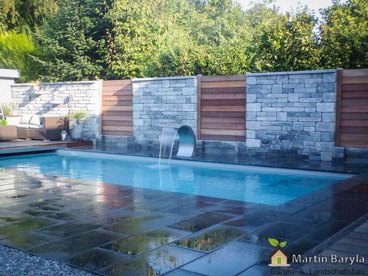 Pflasterarbeiten,  Pool und Natursteinmauer