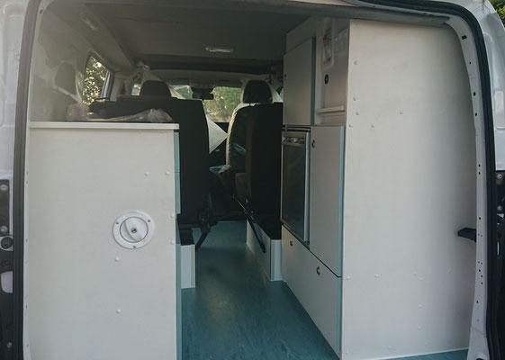 left and right hand side cabinet in Vito camper