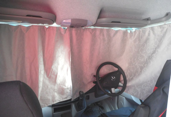 block out curtains in driver cabin area