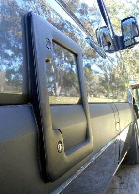neat fitting of toilet cassette door to stream line exterior of the van