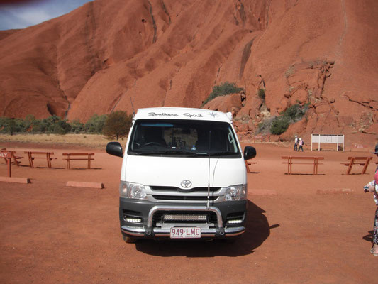 Hiace Campervan in teh Outback at Uluru