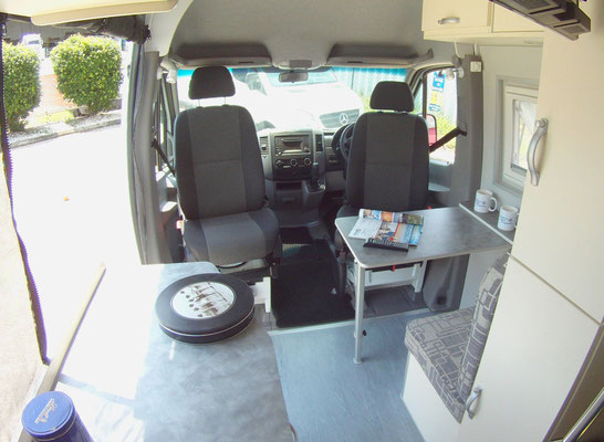 view from rear to front Mercedes Sprinter KR