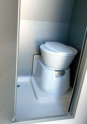 L shape shower tray and swivel toilet  to gain more space