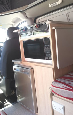 fridge and microwave in cupboard with fold up bench extension