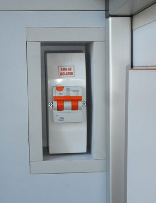 recessed 240V circuit breaker in easy reach for your safety