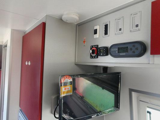 TV on arns fixed onto wardrobe wall
