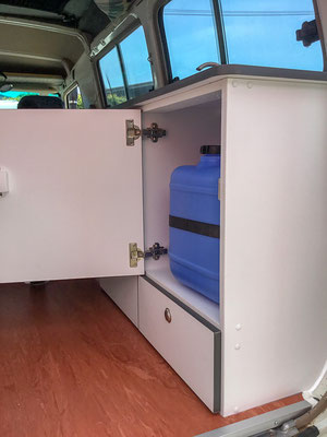 Troopy inside rear kicthen cabinets