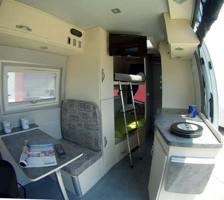 all features larger Rv's have- packed into a  Mercedes Sprinter MWB easy get around RV