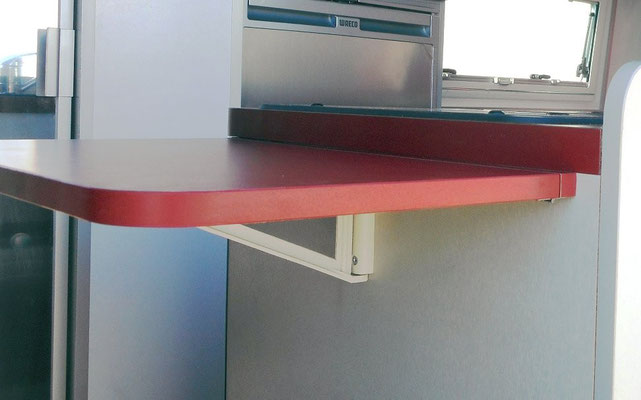 fold up bench kitchen extension, also to use from sviwel passenger seat