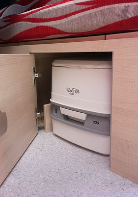 porta loo- stored underneath the bed- with space for toiletries