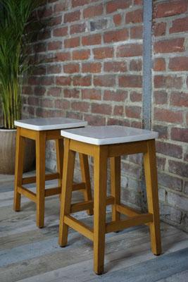 paire de tabourets vintage bois et formica