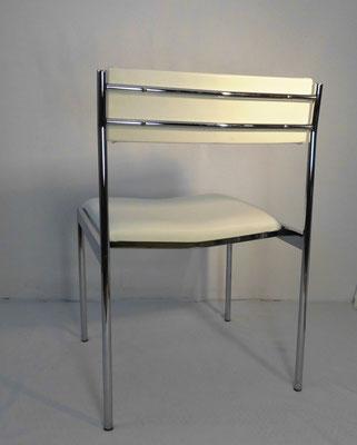 Série de 4 chaises chrome et simili cuir blanc 1970