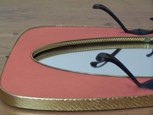 Miroir vintage rétroviseur avec porte manteau 1950-60