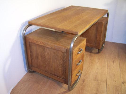 Bureau 1950 de maître d'école en chêne