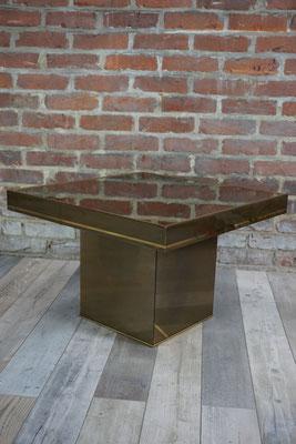 Table basse vintage carré laiton vernis plateau miroir