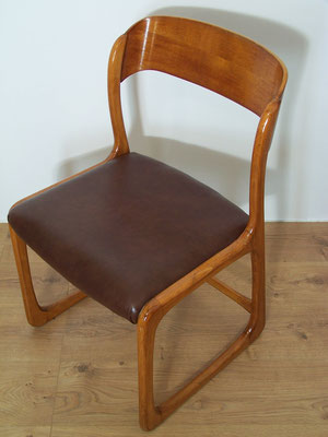 Série de 6 chaises traîneau Baumann simili cuir