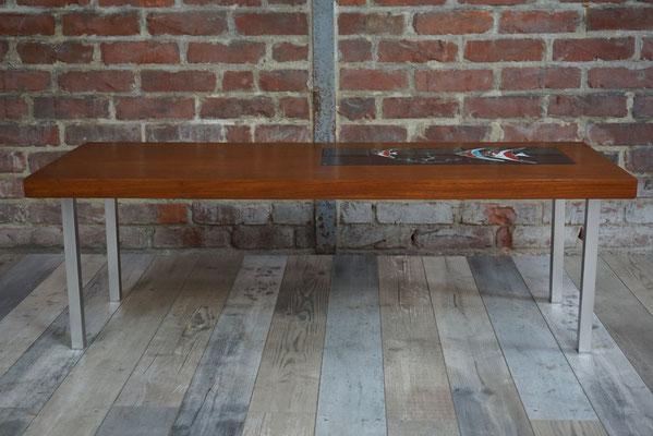 Table basse années 60 en teck et céramique design par De Nisco