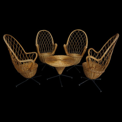 Salon complet osier design des années 50