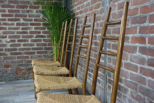 Suite de 4 chaises design en rotin