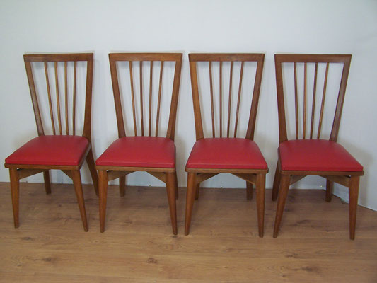 6 chaises années 50 - 60 en chêne massif