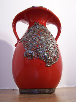 Grand vase  de sol en céramique rouge, West Germany.
