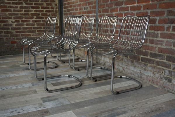 Suite de 6 chaises design et vintage, chromées 1970