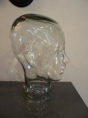 Téte de mannequin vintage en verre